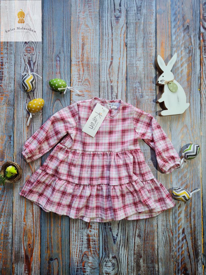 Sukienka w różową krateczke Karen r.74-110