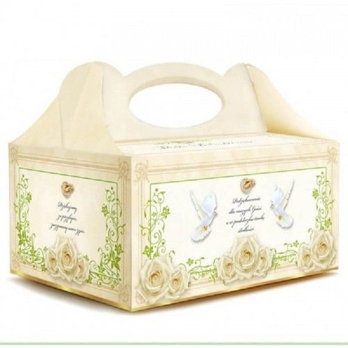 Pudełko na ciasto weselne Róże i Florystyczny Ornament