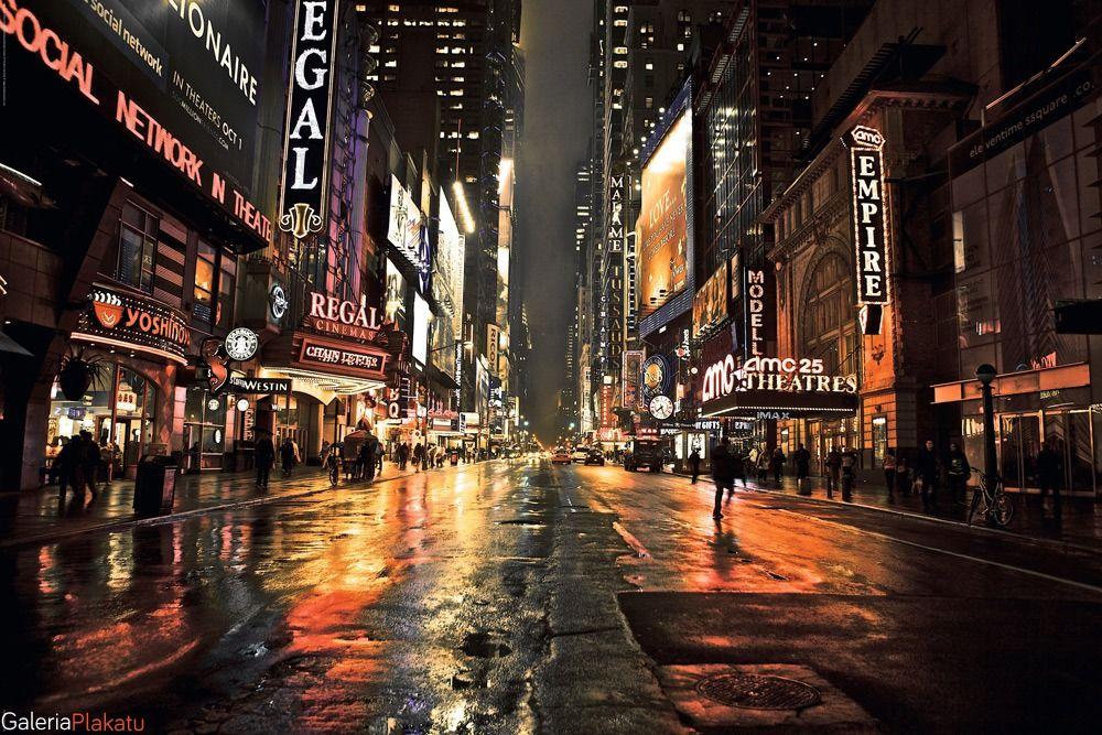 Nowy jork - manhattan nocą - 42nd street 2 - plakat