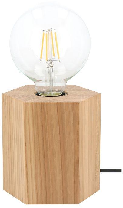 Spot Light 7819174 Hexar lampa stołowa drewno dąb olejowany/czarny 1xE27 25W 12cm