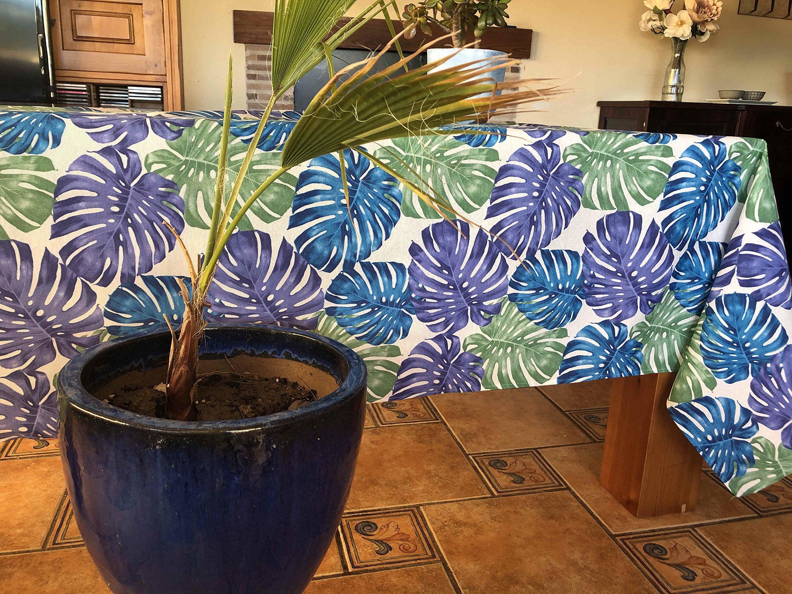 Obrus z płótna żaglowego, z nadrukiem kwiatowym, 140 x 250 cm, niebieski
