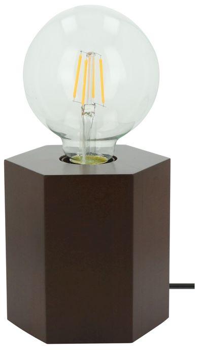 Spot Light 7819176 Hexar lampa stołowa drewno orzech/czarny 1xE27 25W 12cm