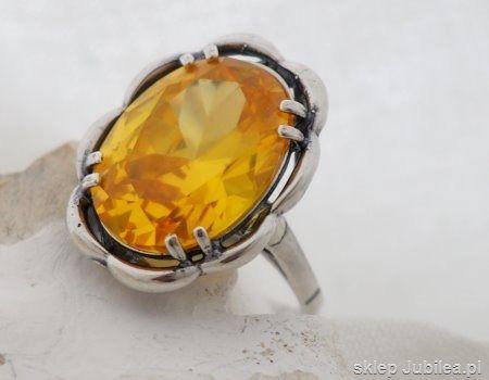 Słońce - srebrny pierścionek z cytrynem złocistym