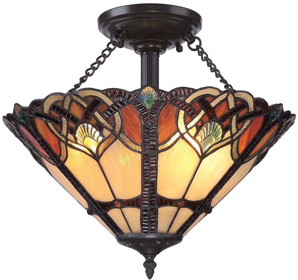 Cambridge lampa sufitowa witrażowa tiffany QZ-CAMBRIDGE-SF - Quoizel // Rabaty w koszyku i darmowa dostawa od 299zł !