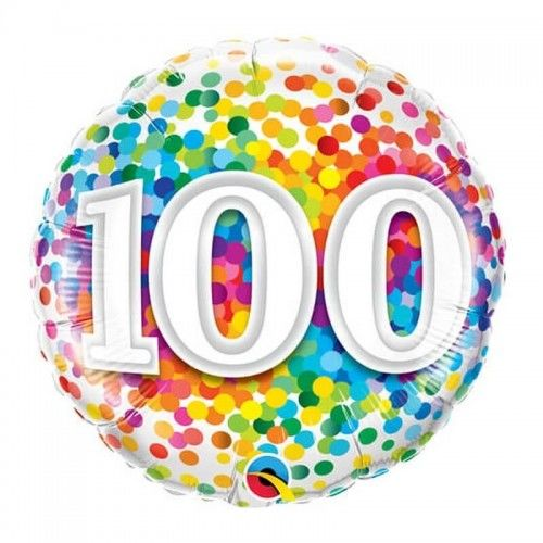 Balon foliowy na 100 urodziny Confetti