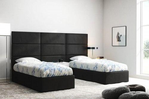 Czarne panele na ścianę za łóżko hotelowe italia 60x30