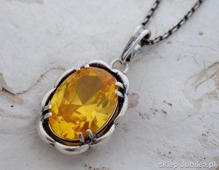 Słońce - srebrny wisior z cytrynem złocistym
