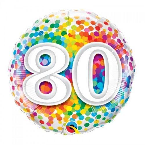 Balon foliowy na 80 urodziny Confetti