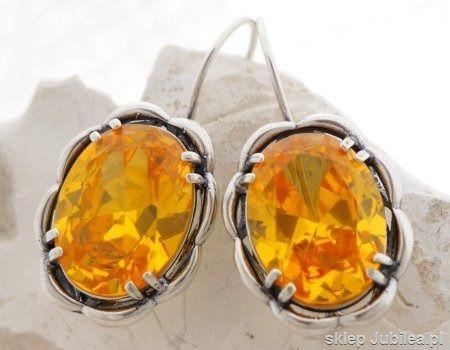 Słońce - srebrne kolczyki z cytrynem złocistym