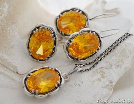 Słońce - srebrny komplet z cytrynem złocistym