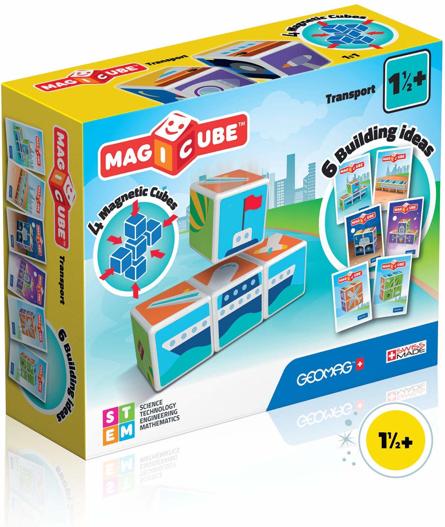 Zabawka konstrukcyjna Geomag-Transport z kostkami magnetycznymi, magnesami, wielokolorowa, 4 kubki, 122