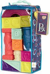 B. toys Elemenosqueeze klocki dla niemowląt - 26 klocków do układania w stos z liczbami kształtów, zwierzętami i fakturami, miękkie bloki bez BPA dla niemowląt 6 m+ (26 szt.)