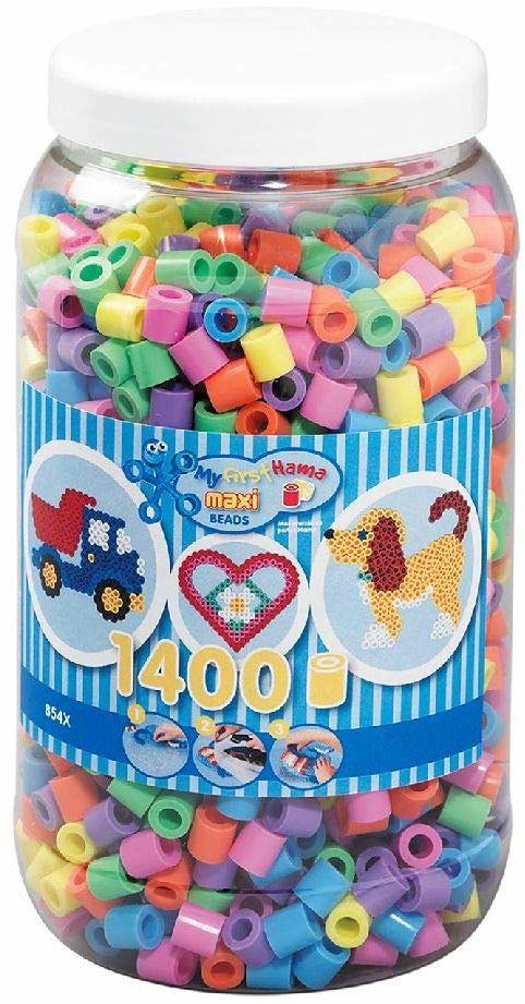 Hama Perlen 8541 puszka z koralikami do prasowania, ok. 1400 kolorowych koralików maxi o średnicy 10 mm, pastelowa mieszanka, kreatywna zabawa dla dużych i małych