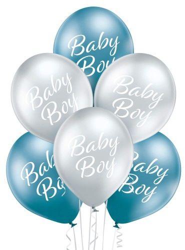 Balony Baby Boy chrom, glossy, 6 szt.