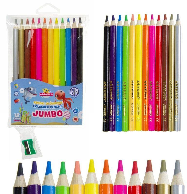 Kredki ołówkowe JUMBO 12 kolorów Mini Mini + temperówka Astra 0566 5978-KJ-12-MINI