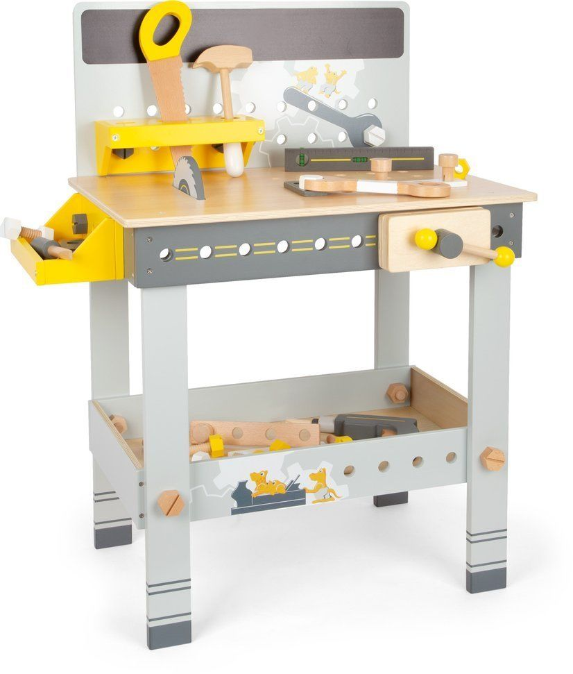Drewniany warsztat z piłą tarczową Silver 11806-Small Foot, narzędzia dla dzieci