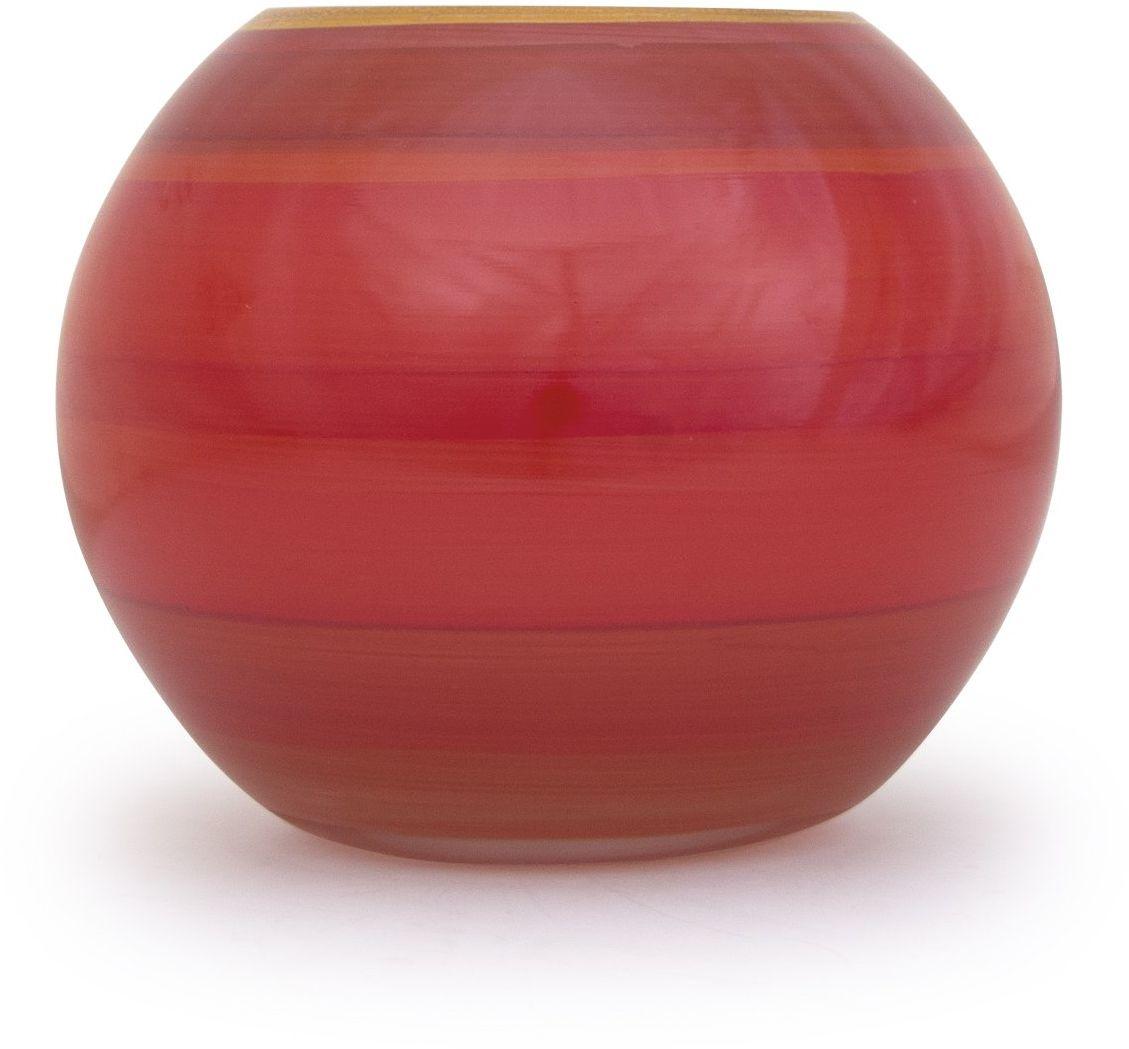 Angela nowy wiedeński stół warsztatowy szklany wazon uszlachetniony kształt kuli, szkło, czerwony, 14 x 14 x 14 cm
