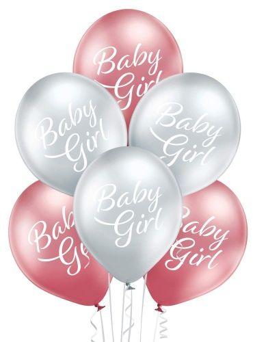 Balony Baby Girl chrom, glossy, 6 szt.