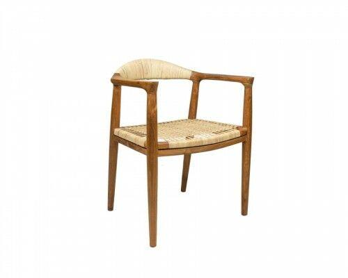 Krzesło z drewna tekowego i rattanu