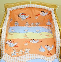 MAMO-TATO pościel 2-el Bociany w ceglastym pomarańczu do łóżeczka 60x120cm