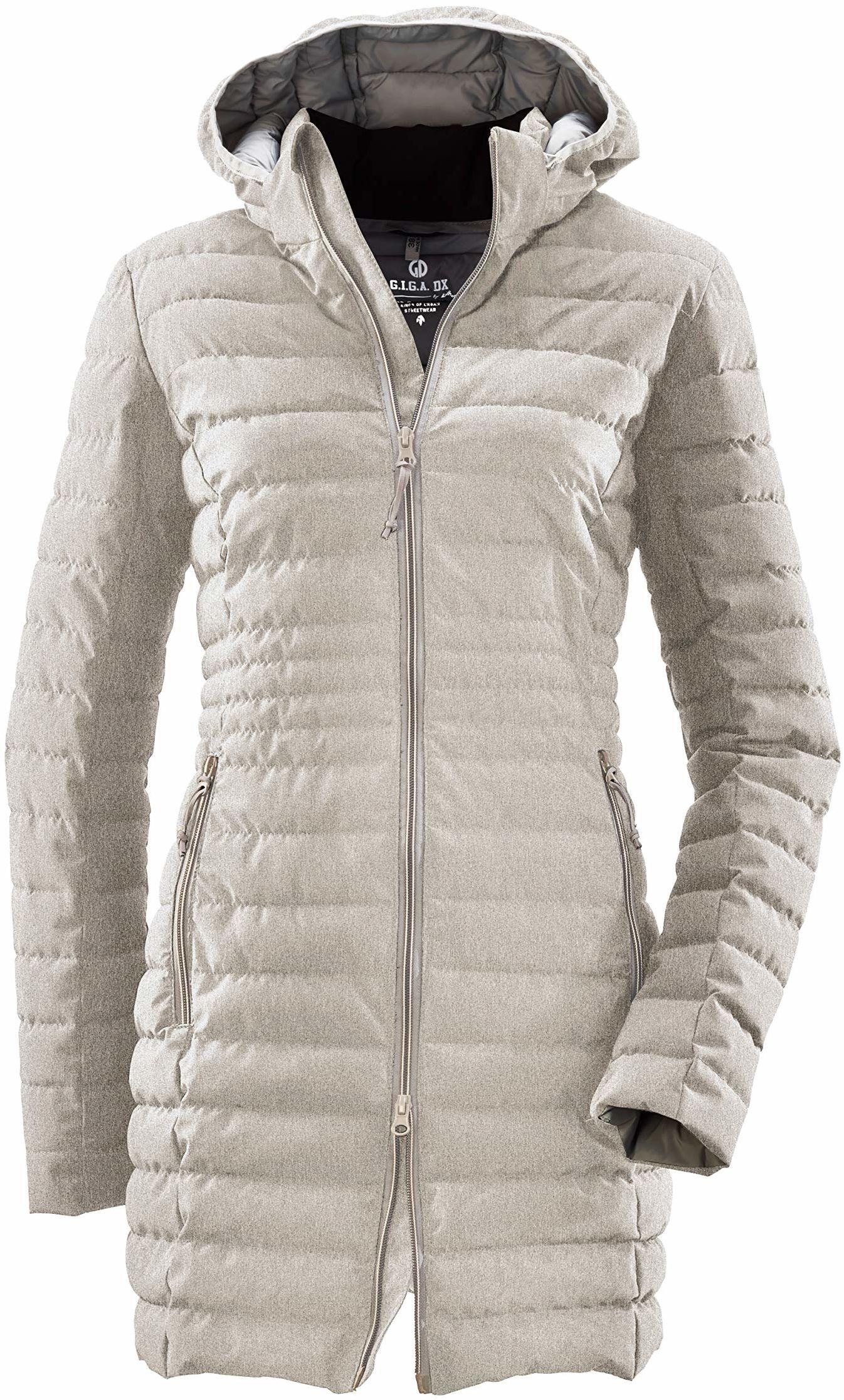 G.I.G.A. DX Bacarya damski płaszcz pikowany  parka funkcyjna z kapturem  długa kurtka pikowana  płaszcz przejściowy o wyglądzie puchu, jasnoszary, 46