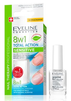 Eveline Cosmetics Nail Therapy 8w1 Sensitive Odżywka do paznokci z kwarcem 12ml