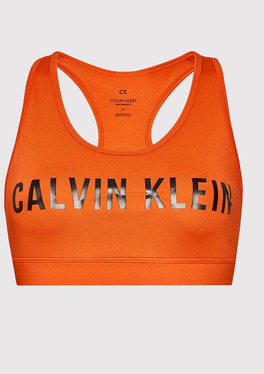 Calvin Klein Performance Biustonosz sportowy Medium Support 00GWF0K157 Pomarańczowy
