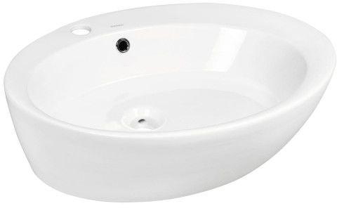Umywalka nablatowa owalna 60x47x14,5 cm ceramiczna z przelewem