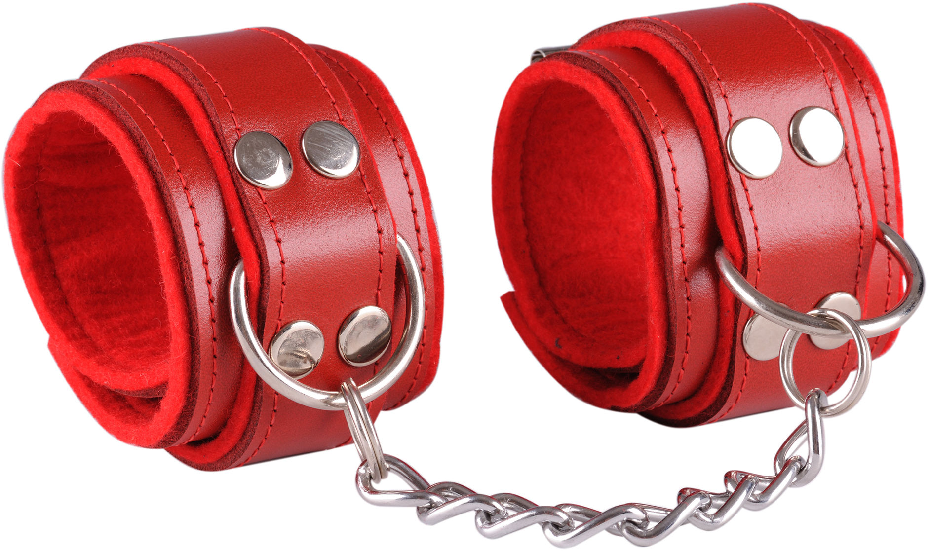 Dominate Me Leather Handcuffs D13 Red-Red