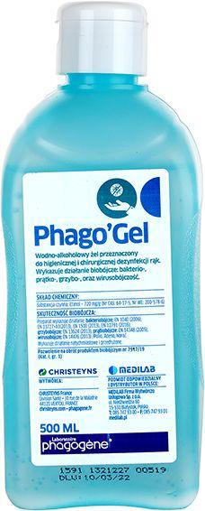 Phago' Gel to wodno-alkoholowy preparat w postaci żelu do higienicznej i chirurgicznej dezynfekcji rąk metodą wcierania