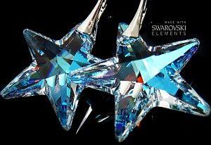 NEW SWAROVSKI kolczyki BLUE AURORA STAR