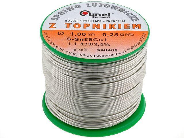 Tinol bezołowiowy Sn-99% Cu-1% 1,00mm/250g Cynel