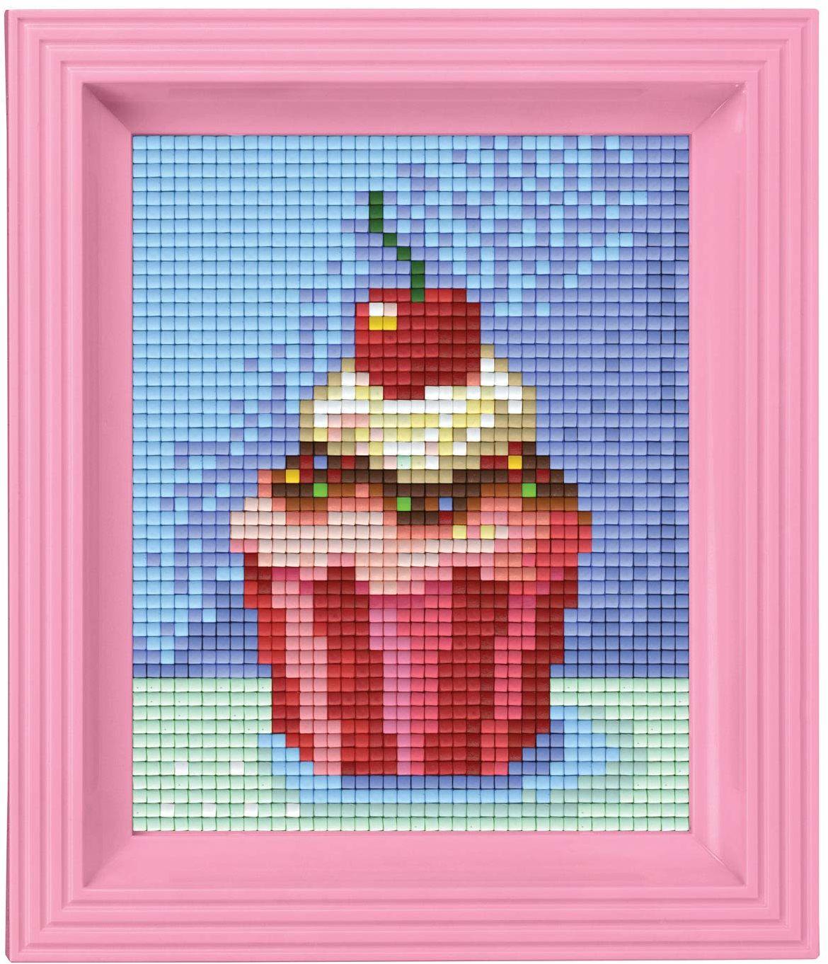 Pixel P31228 mozaika opakowanie na prezent babeczki, obraz pikselowy z ramką do tworzenia dla dzieci i dorosłych