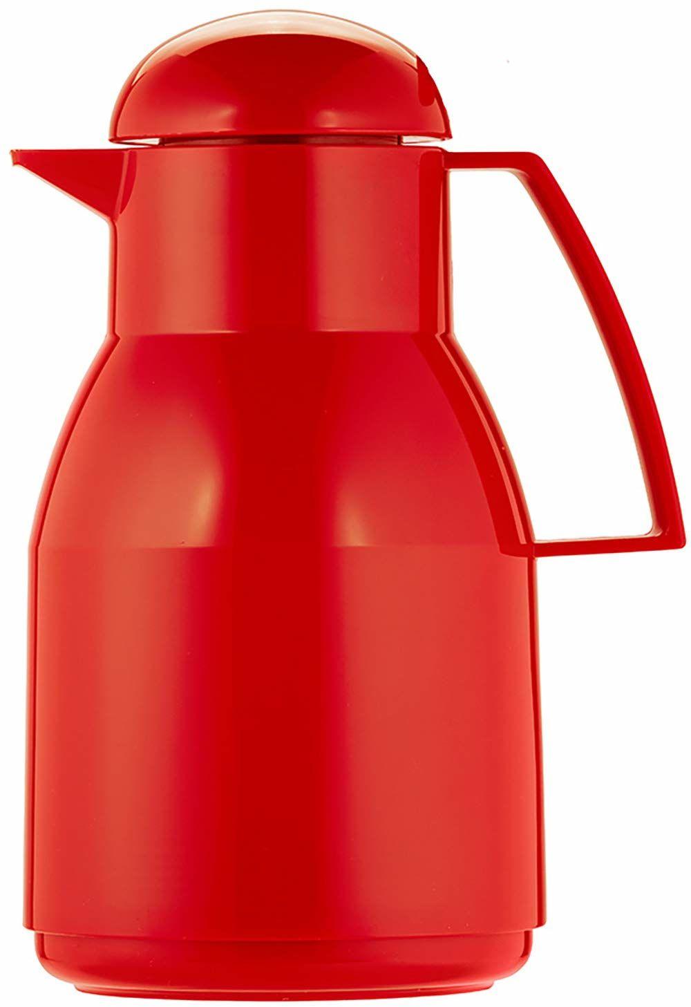 Helios Termos Top z twardego plastiku o wysokim połysku z zakręcanym zamknięciem, czerwony, 1 l