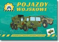 Pojazdy wojskowe-kolorowanka z modelem samochodu i naklejkami