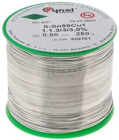 Tinol bezołowiowy Sn-99% Cu-1% 0,50mm/250g Cynel