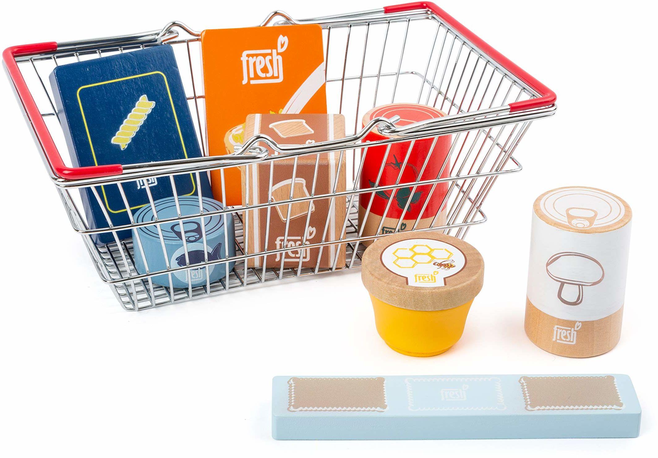 Small Foot 11443 koszyk na zakupy spożywcze świeży wykonany z drewna, zestaw jako akcesorium do kuchni dla dzieci i sklepów zabaw, wielokolorowe