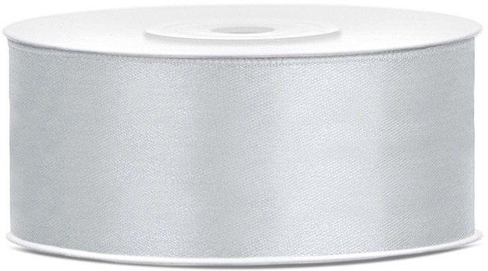 Tasiemka satynowa 25mm srebrna 25m 1szt. TS25-018