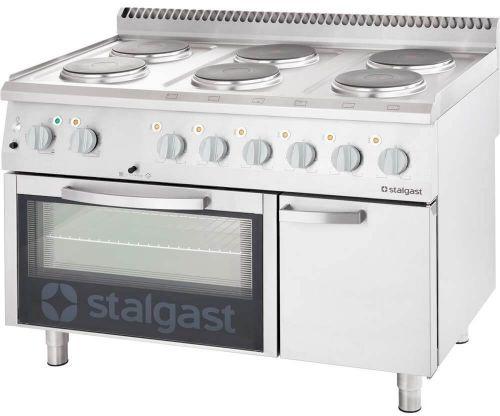 Kuchnia Elektryczna 6-Polowa 15,6 kW z Piekarnikiem Elektrycznym z Termoobiegiem 7 Kw 400 V i Szafką