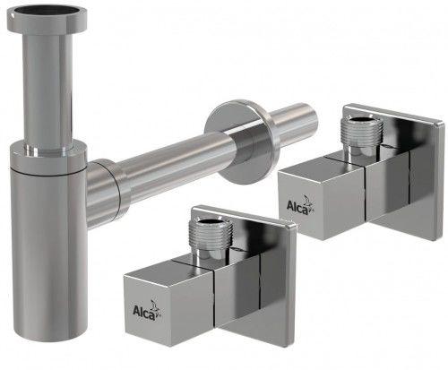 """Półsyfon umywalkowy 50 mm , DN32 +ZAWÓR KĄTOWY 1/2"""" 3/8"""", KWADRATOWY CHROM"""