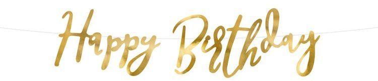 Baner Napis Happy Birthday złoty 62cm GRL75-019M