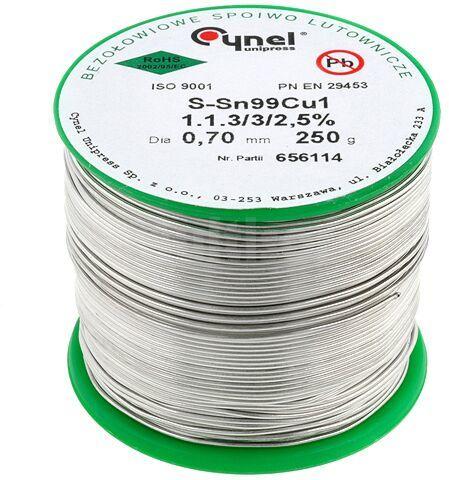 Tinol bezołowiowy Sn-99% Cu-1% 0,70mm/250g Cynel