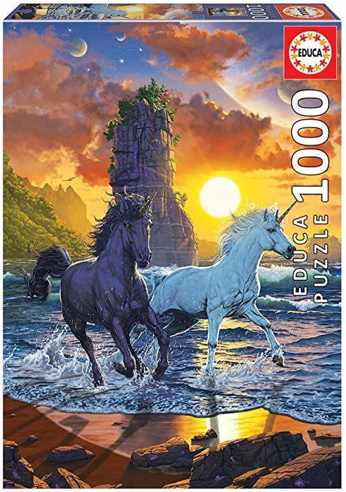 Educa Vincent Hie jednorożce na plaży - 1000 elementów puzzli - Ref 19025, wielokolorowe