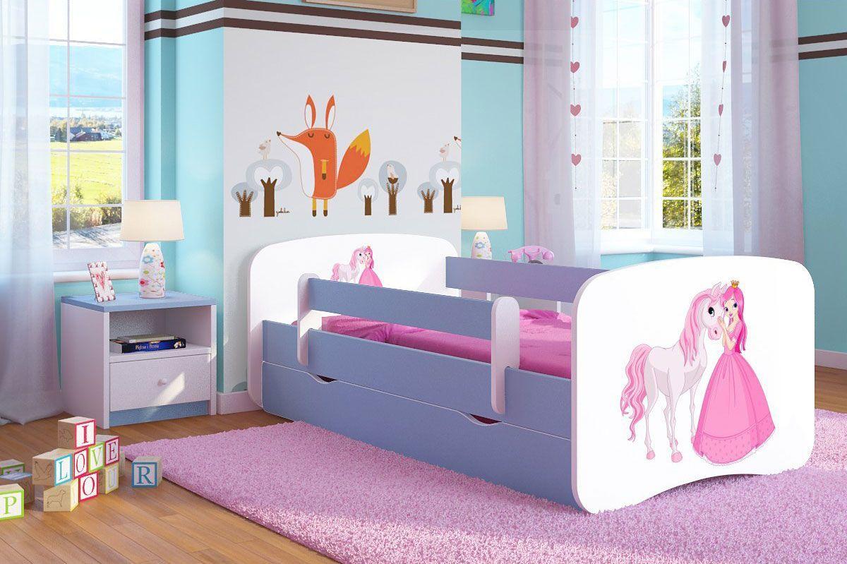 Łóżko dla dziecka z barierką Happy 2X mix 70x140 - niebieskie