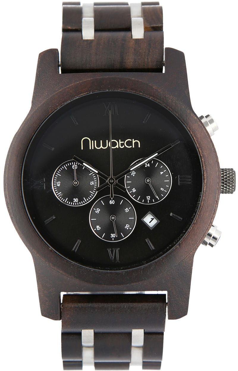 Męski zegarek drewniany Niwatch CHRONO - HEBAN - na bransolecie