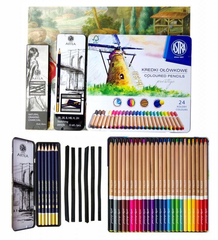 Zestaw z kredkami - artystyczny 4 elementy ASTRA 4175 5999-ZESTAW-ASTRA