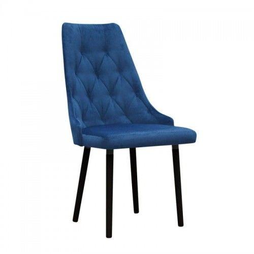 Krzesło jadalniane pikowane Nuit na drewnianych nogach