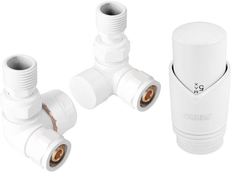 Zestaw termostatyczny osiowy, biały + złączki CU fi15 i pex 16x2