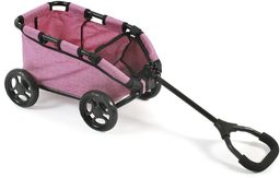 """Bayer Chic 2000 660 70  wózek do ciągnięcia """"Skipper"""", ręczny wózek dla lalek lub misiów, dżinsów różowy"""