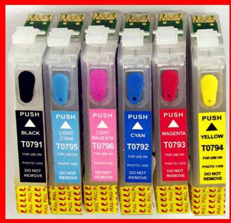 Kartridże zamienne napełnialne wieczne chipy T0791-796 Epson 1400/1500W